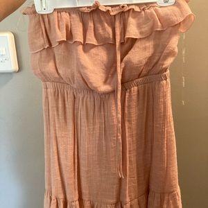 Strapless mini flowy dress